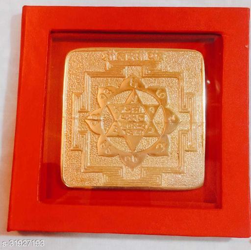 KESAR ZEMS Pure Brass Laxmi Yantra For Prosperity & Wealth.  (9 x 9 x 0.2 CM) Golden.