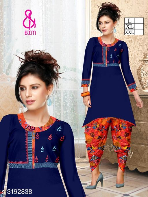 Kurta Sets Attractive Soft Cotton  Women's Kurta Sets  *Fabric* Kurti - Soft Cotton , Bottom - Soft Cotton  *Sleeves* Sleeves Are Included  *Size* Kurti  - L - 40 in, XL - 42 in, XXL - 44 in ,Bottom - L - 28 in To 32 in ,XL - 32 in To 34 in, XXL - 34 in To 36 in  *Type* Stitched  *Length* Kurti - Up To 46 in, Bottom - Up To 40 in  *Description* It Has 1 Piece Of Women's Kurti With 1 Piece Of Bottom  *Work * Printed  *Sizes Available* L, XL, XXL   Supplier Rating: ★4.1 (3038) SKU: DHOTI RED Shipping charges: Rs1 (Non-refundable) Pkt. Weight Range: 600  Catalog Name: Siya Attractive Soft Cotton  Women's Kurta Sets Vol 10 - Step up wear Code: 577-3192838--058