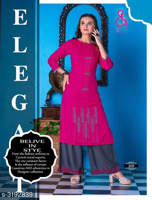 Kurta Sets Attractive Soft Cotton  Women's Kurta Sets  *Fabric* Kurti - Soft Cotton , Bottom - Soft Cotton  *Sleeves* Sleeves Are Included  *Size* Kurti  - L - 40 in, XL - 42 in, XXL - 44 in ,Bottom - L - 28 in To 32 in ,XL - 32 in To 34 in, XXL - 34 in To 36 in  *Type* Stitched  *Length* Kurti - Up To 46 in, Bottom - Up To 40 in  *Description* It Has 1 Piece Of Women's Kurti With 1 Piece Of Bottom  *Work * Printed  *Sizes Available* L, XL, XXL   Supplier Rating: ★4.1 (3038) SKU: RAGOON 201 Shipping charges: Rs1 (Non-refundable) Pkt. Weight Range: 600  Catalog Name: Siya Attractive Soft Cotton  Women's Kurta Sets Vol 10 - Step up wear Code: 577-3192839--058