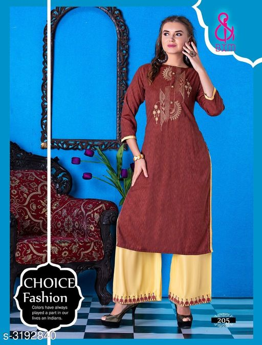 Kurta Sets Attractive Soft Cotton  Women's Kurta Sets  *Fabric* Kurti - Soft Cotton , Bottom - Soft Cotton  *Sleeves* Sleeves Are Included  *Size* Kurti  - L - 40 in, XL - 42 in, XXL - 44 in ,Bottom - L - 28 in To 32 in ,XL - 32 in To 34 in, XXL - 34 in To 36 in  *Type* Stitched  *Length* Kurti - Up To 46 in, Bottom - Up To 40 in  *Description* It Has 1 Piece Of Women's Kurti With 1 Piece Of Bottom  *Work * Printed  *Sizes Available* L, XL, XXL   Supplier Rating: ★4.1 (3038) SKU: RAGOON 205 Shipping charges: Rs1 (Non-refundable) Pkt. Weight Range: 600  Catalog Name: Siya Attractive Soft Cotton  Women's Kurta Sets Vol 10 - Step up wear Code: 577-3192840--058