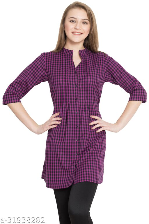 Hive91 Purple Checkered Tunic for Women made of Cotton
