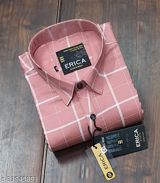 Men's Casual Party Wear Solid Printed Full Sleeves Premium Fancy Check Shirt (Pink)