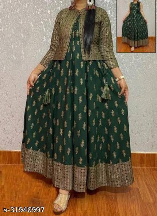 Designer Green  Kurti with Short jacket