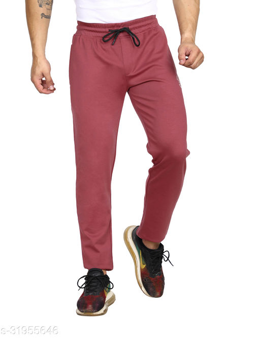ROLLISTEAR Men's Cottton Onion Solid Slim Fit Trackpant With Printed Logo