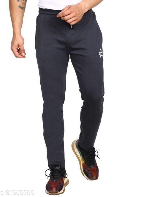 ROLLISTEAR Men's Cottton D.Grey Solid Slim Fit Trackpant With Printed Logo