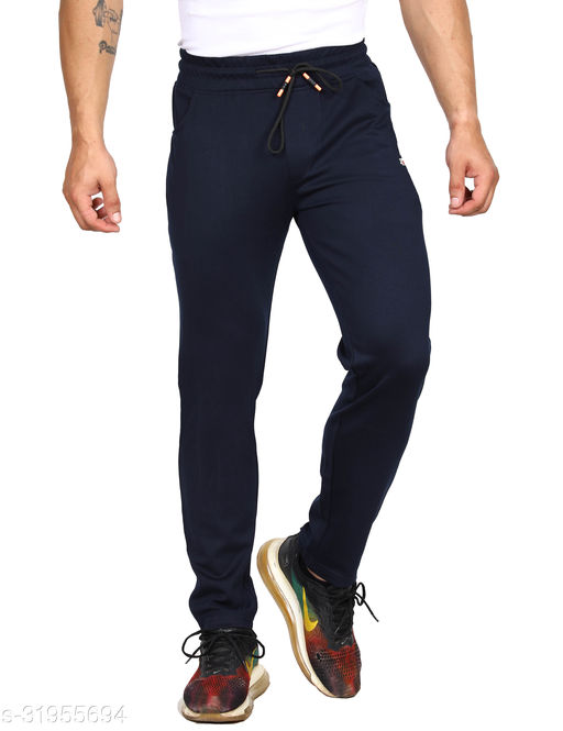 ROLLISTEAR Men's Cottton Navy Solid Slim Fit Trackpant With Printed Logo