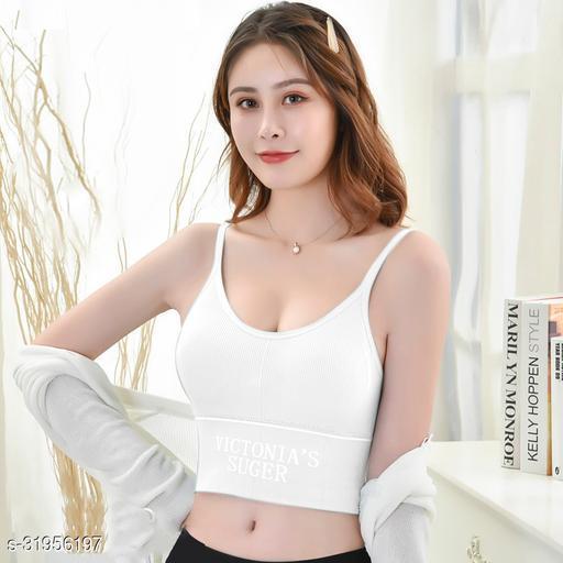 Women's Nylon & Cotton Lightly Padded Non-Wired Sports Bra