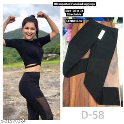 Sheer panelled leggings,track pants,Homewear dryfit lower by High-Buy-Free Size(28-34 waist, length-37)-D58