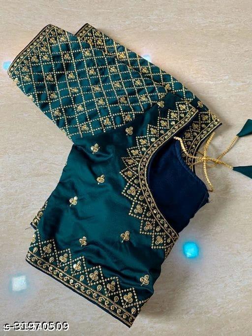 mangalam EMBROIDERYwork designer silk blouse with gold zari embroidered butti
