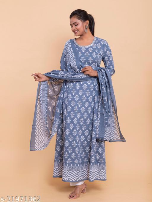 Women Cotton Anarkali Gown With Dupatta