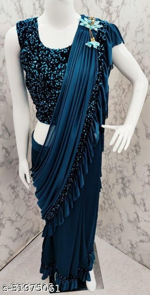 G-Stuff Women Ready To Wear Saree With Sequence Blouse Piece