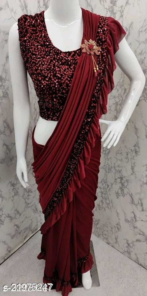 Fidubi Women Ready To Wear Saree With Sequence Blouse Piece