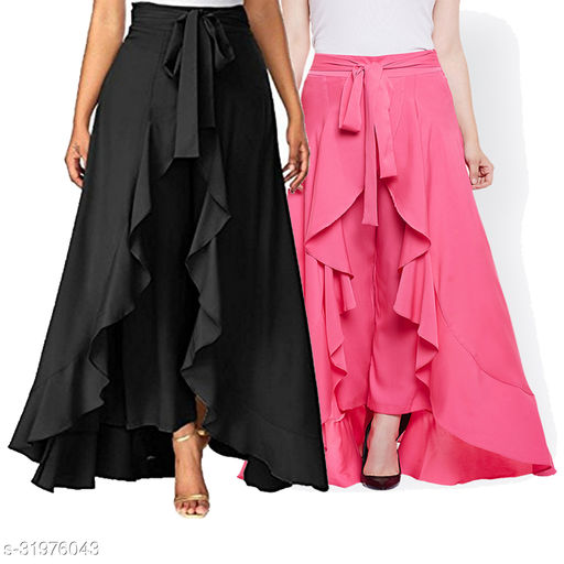 Aexxelus Women's Solid Heavy Crepe Layered / Ruffle Low-Rise Plazzos Combo with One Waist Tie Band Pack Of 2