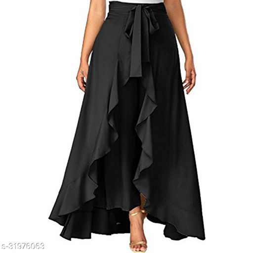 Aexxelus Women's Solid Heavy Crepe Layered / Ruffle Low-Rise Plazzos with One Waist Tie Band