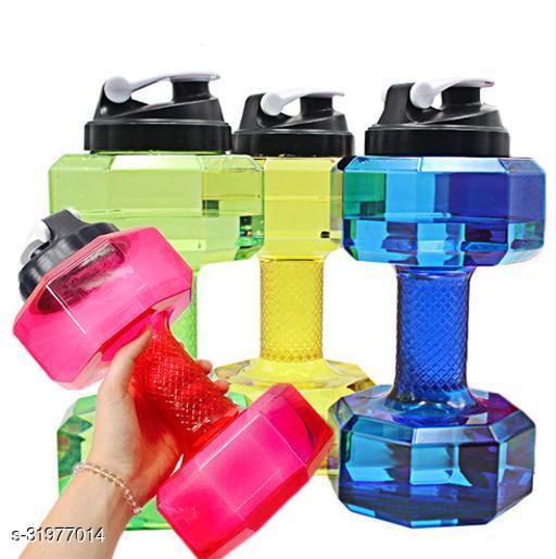 Aarvi enterprise Dumbbell Shape Water Bottle Plastic Portable Dumble Water Bottle(Pack of 3)
