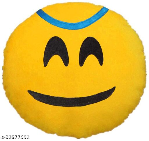 Premium Smiley & Emoji Microfibre Pillows Cushions For Home Decoration items For Gift items, Sofa & Office Chair Cushions and Pillows Microfibre Smiley Cushion - Princess Snile Size - 32x32CM (Pack of 1)