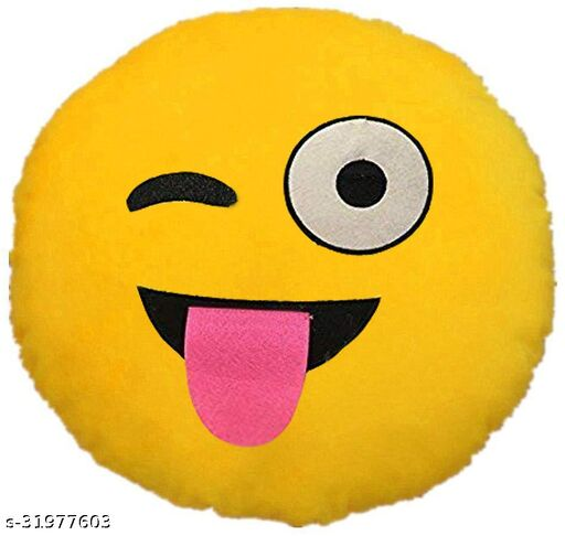 Premium Smiley & Emoji Microfibre Pillows Cushions For Home Decoration items For Gift items, Sofa & Office Chair Cushions and Pillows Microfibre Smiley Cushion - Naughty Smile Size - 32x32CM (Pack of 1)