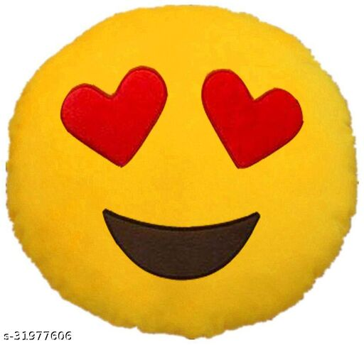 Premium Smiley & Emoji Microfibre Pillows Cushions For Home Decoration items For Gift items, Sofa & Office Chair Cushions and Pillows Microfibre Smiley Cushion - Heart eye smile - Size - 32x32CM (Pack of 1)