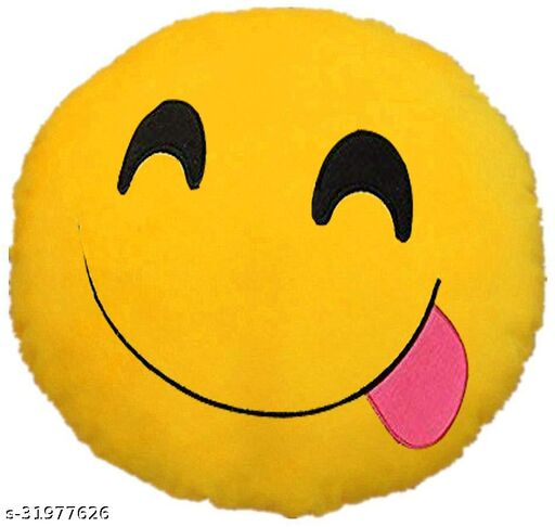 Premium Smiley & Emoji Microfibre Pillows Cushions For Home Decoration items For Gift items, Sofa & Office Chair Cushions and Pillows Microfibre Smiley Cushion - Yummy Smile Size - 32x32CM (Pack of 1)