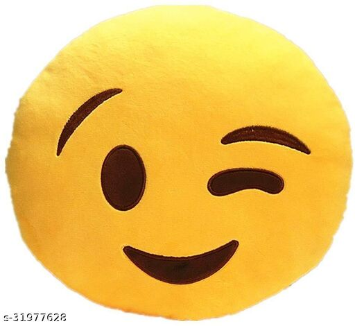 Premium Smiley & Emoji Microfibre Pillows Cushions For Home Decoration items For Gift items, Sofa & Office Chair Cushions and Pillows Microfibre Smiley Cushion - Wlink Smile Size - 32x32CM (Pack of 1)