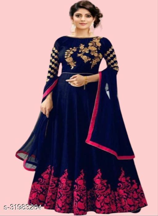 AASHA Embroidered Semi Stitched Anarkali Gown