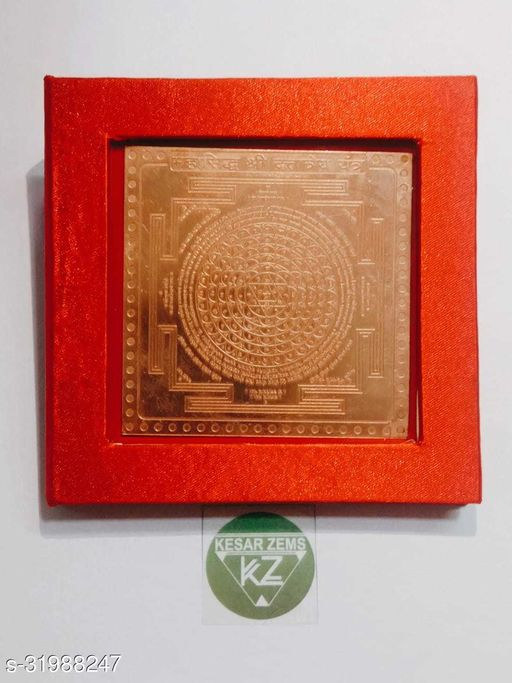 KESAR ZEMS Pure Copper MahaSiddh Shree Dattatreya Yantra With Red Velvet box (7.5 x 7.5 x 0.1 CM,Brown)
