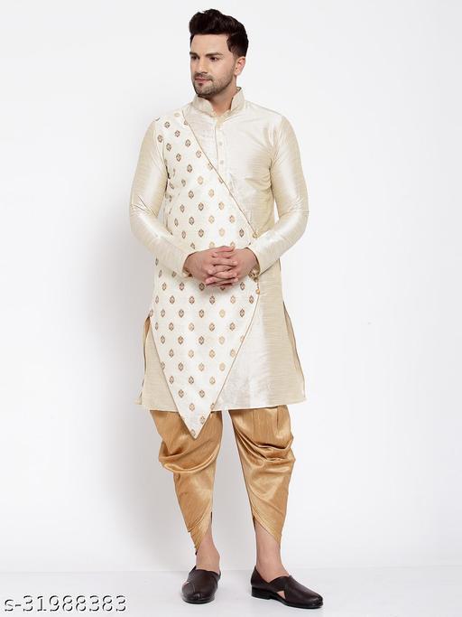 Over Crowd Men's Silk Solid Angarakha Ganesh Jacquard Kurta Salwar (Beige)