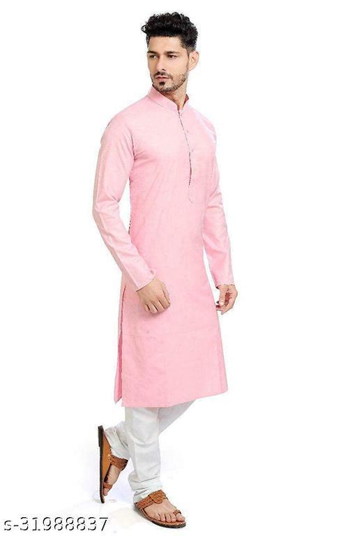 Lookslady Designer Men's Baby Pink Solid Straight Cotton Kurta Pyjama Set