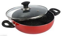 ETHICAL MASTREO Series Non-Stick Gas Compatible Kadhai 26 cm with Toughened Glass Lid