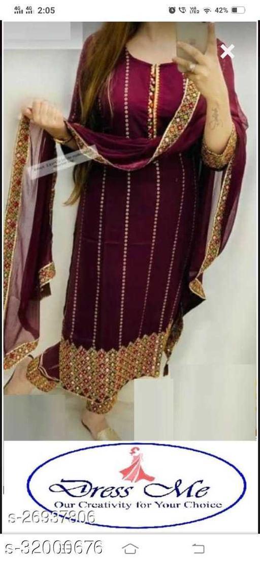Women Rayon Kurta  Dupatta and Bottomwear Set