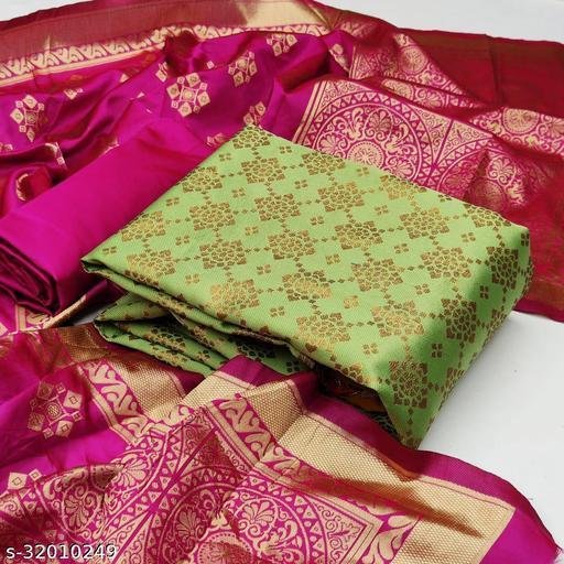 Anny Deziner Women's Light Pista Banarasi Silk Jaccquard Woven Unstitched Salwar Suit Material