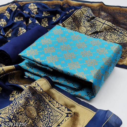 Anny Deziner Women's Blue Banarasi Silk Jaccquard Woven Unstitched Salwar Suit Material