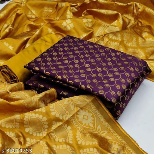 Anny Deziner Women's Piche   Banarasi Silk Jaccquard Woven Unstitched Salwar Suit Material