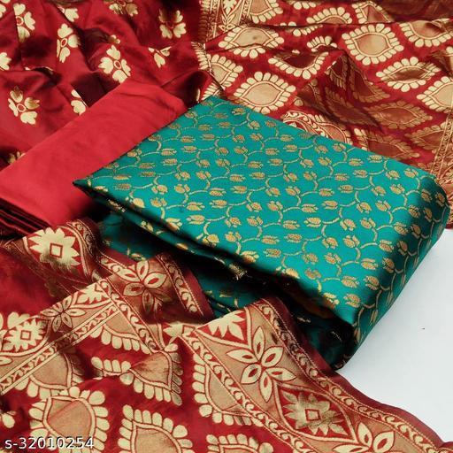 Anny Deziner Women'sGreen Banarasi Silk Jaccquard Woven Unstitched Salwar Suit Material
