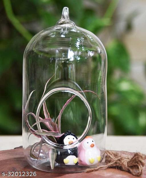 MAGICMOON CRYSTAL GLASS HANGING PLANTER CAPSULE SHAPE TERRARIUM FOR INDOOR GARDENING (SET OF 1)