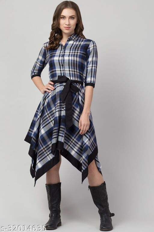 Hive91 Wrap Checkered Dress for Women, 3/4 Sleeve, Blue and Black check Dress in Cotton Fabric