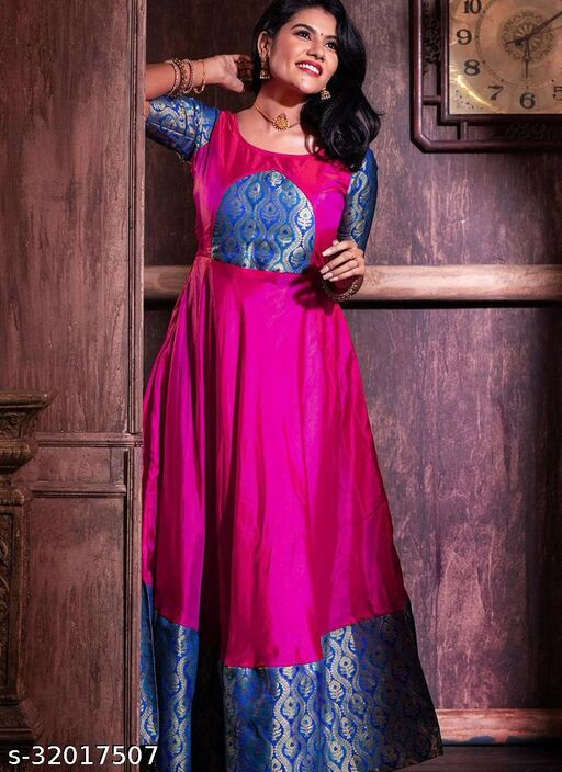 Captivating Magenta Colored Festive Wear Weaving Jacquard Silk Gown