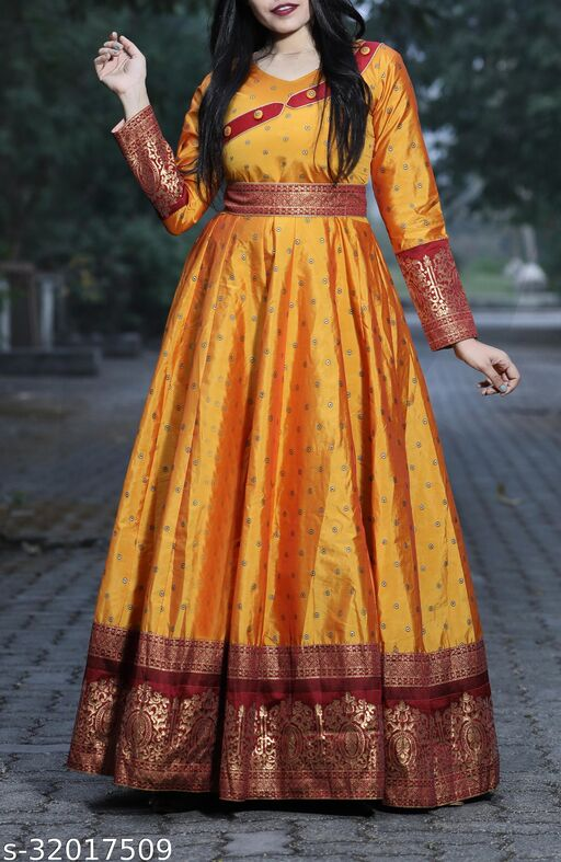 Designer Yellow Colored Party Wear Readymade Cotton Gown