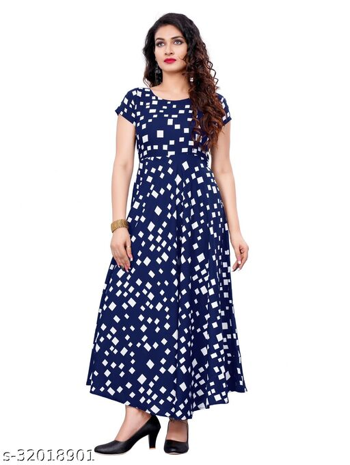Navy Blue Crepe Colorblocked Printed Stitched Gown