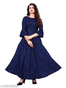 Navy Blue Crepe Animal Printed Stitched Gown
