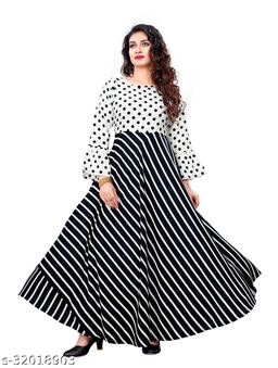 Black Crepe Stripe Printed Stitched Gown