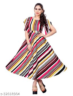 Multicolor Crepe Stripe Printed Stitched Gown