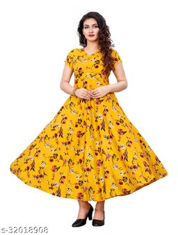 Yellow Crepe Floral Printed Stitched Gown
