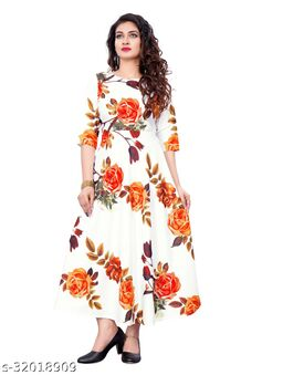 White Crepe Floral Printed Stitched Gown