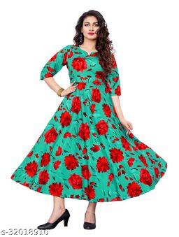 Green Crepe Floral Printed Stitched Gown