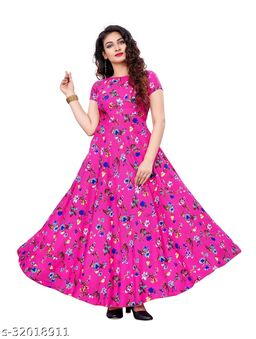 Pink Crepe Floral Printed Stitched Gown