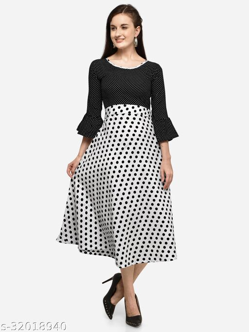 White Crepe Polka Dot Printed Stitched Gown