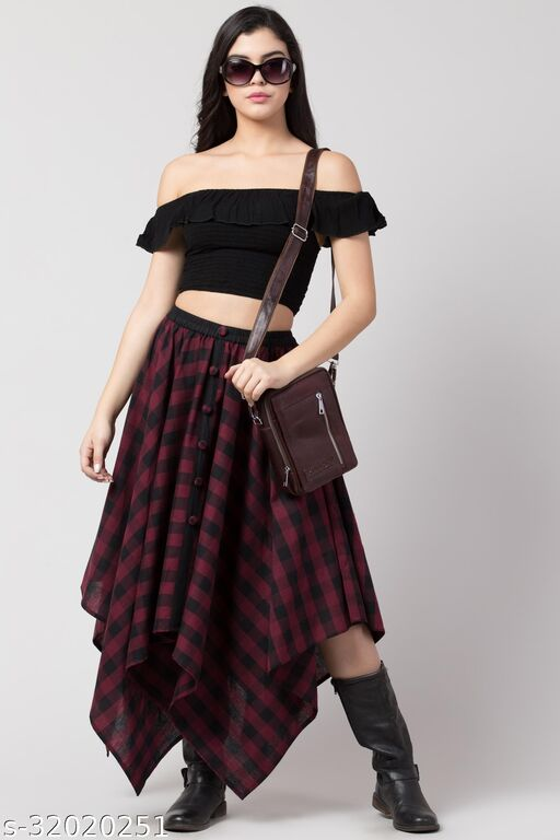 Hive91 Checkered Maroon Party Wear Long Skirts for Women Made of Cotton