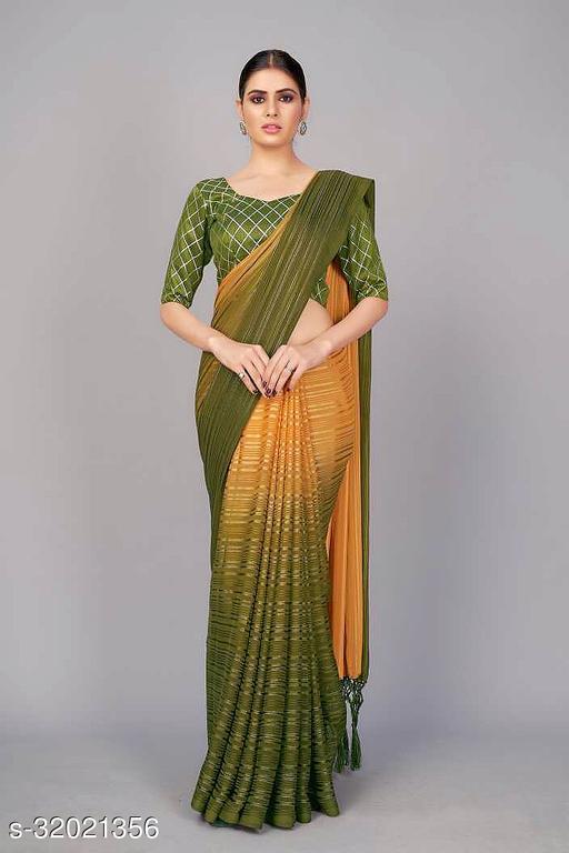 SERONA FABRICS women's silk blend silver jari weving saree with sequins blouse