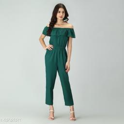 Trendy Women's Green Stripe Off-Shoulder Elastic Waist Soft Ruffle Striped Jumpsuit